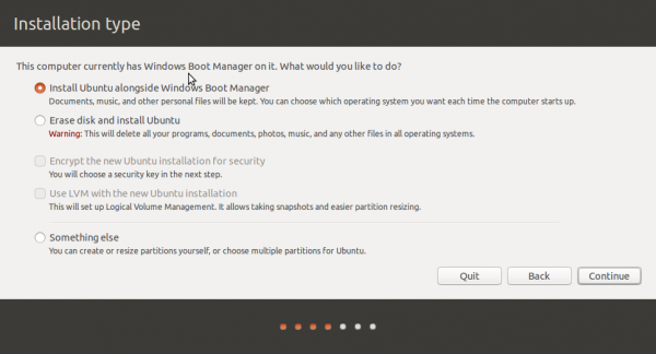 Ubuntu 14.10 installation types