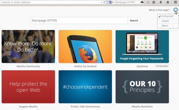 Sponsored Tiles Firefox