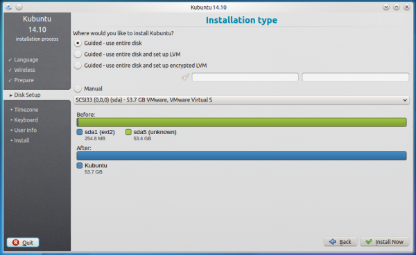 Kubuntu 14.10 graphical installer