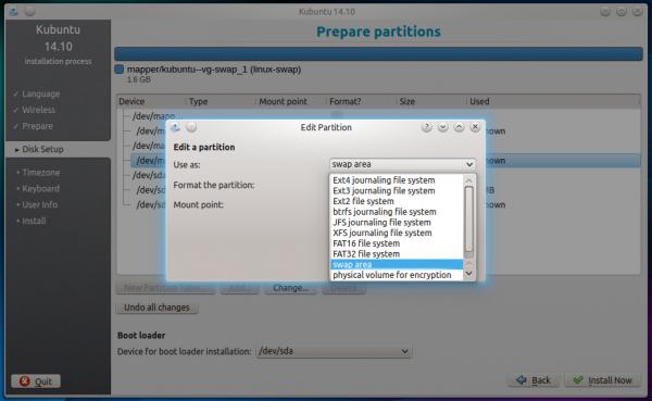 Kubuntu 14.10 file systems