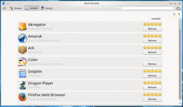 Kubuntu 14.10 Muon Discover remove app