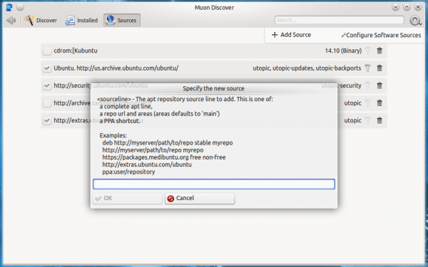 Kubuntu 14.10 package source manager