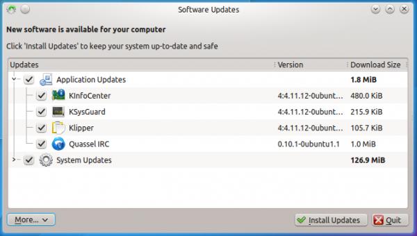 Kubuntu 14.10 updates manager
