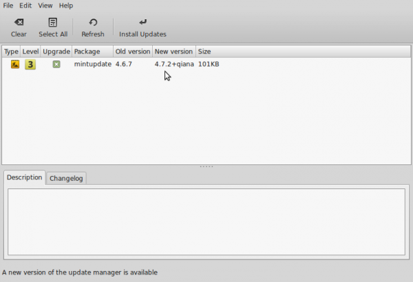 Linux Mint update manager