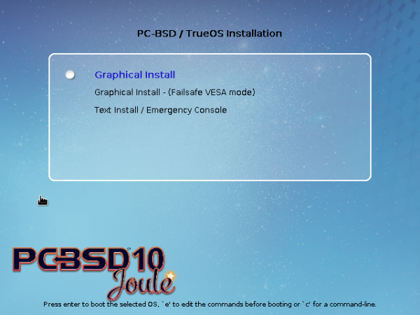 PC-BSD 10.1 boot menu