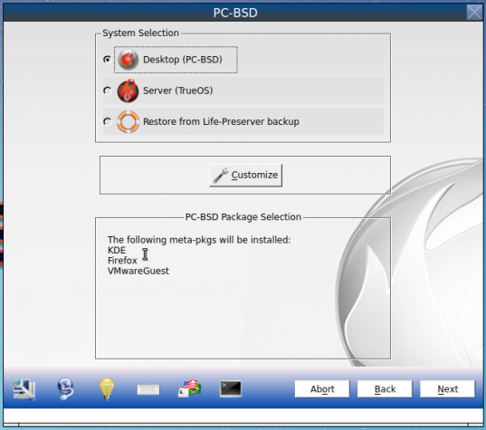 Figure 2: Graphical installer of PC-BSD 10.1.