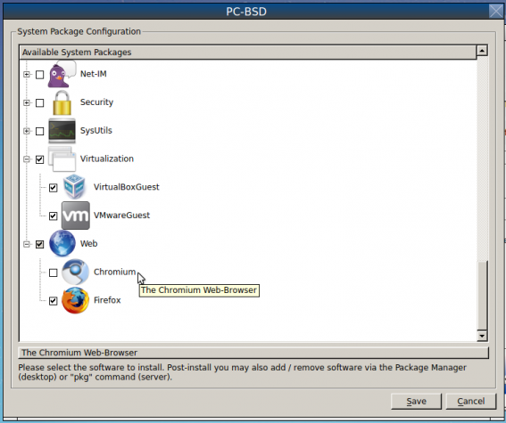 PC-BSD 10.1 software options