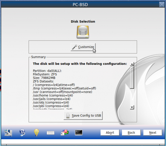Disk partition of PC-BSD 10.1