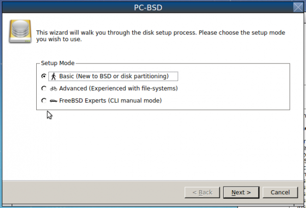 PC-BSD 10.1 disk partition options
