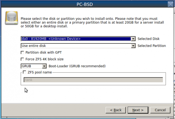 Advanced disk partition PC-BSD 10.1