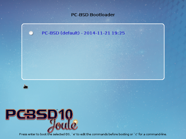 GRUB menu of PC-BSD 10.1