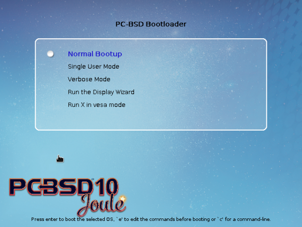 PC-BSD 10.1 GRUB options