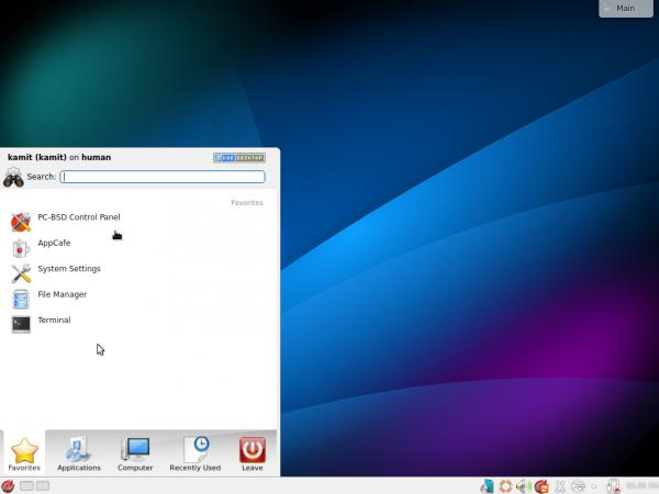 KDE Kickoff menu PC-BSD 10.1