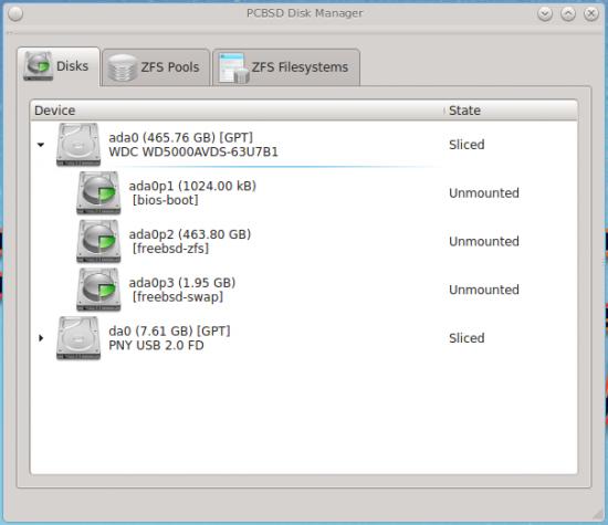 PC-BSD 10 partitions