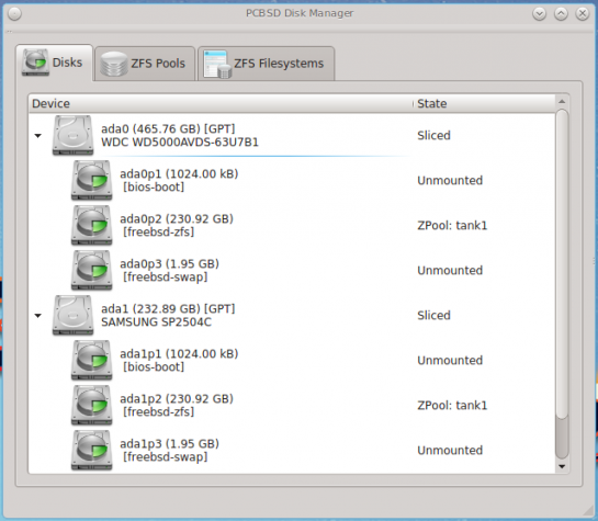 Disk Manager on PC-BSD 10.1