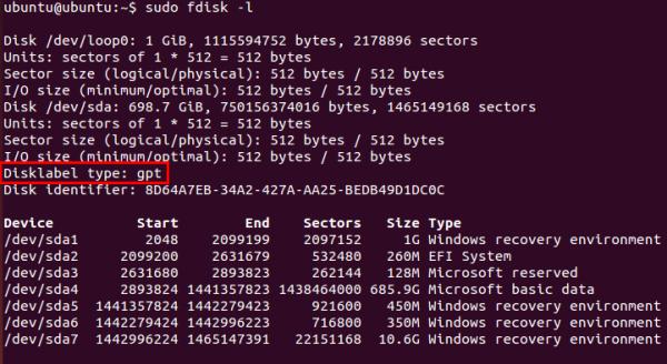 Linux GPT partition