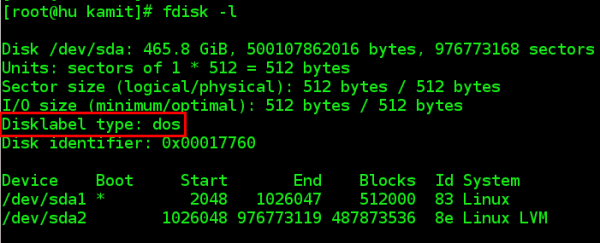 Linux MBR or DOS partition