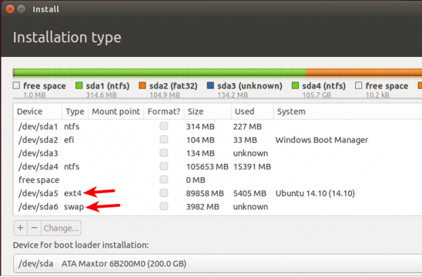 Linux partitions swap