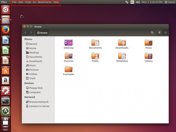 Ubuntu 14.10 Desktop menu bar