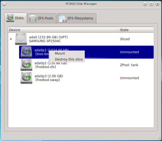 Figure 30: ZFS Manager