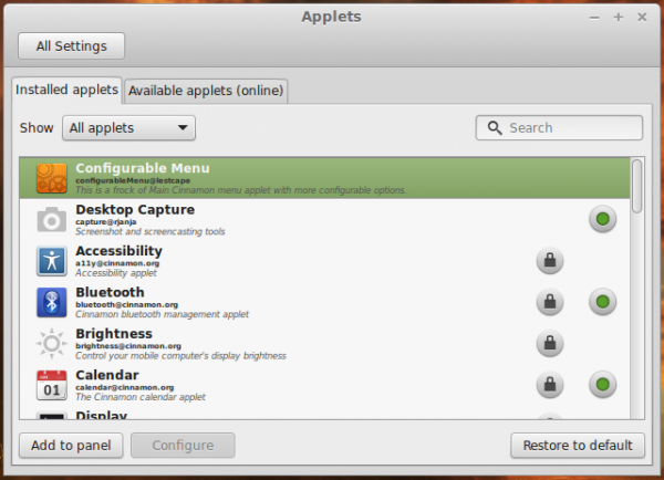 Linux Mint 17 add Applet