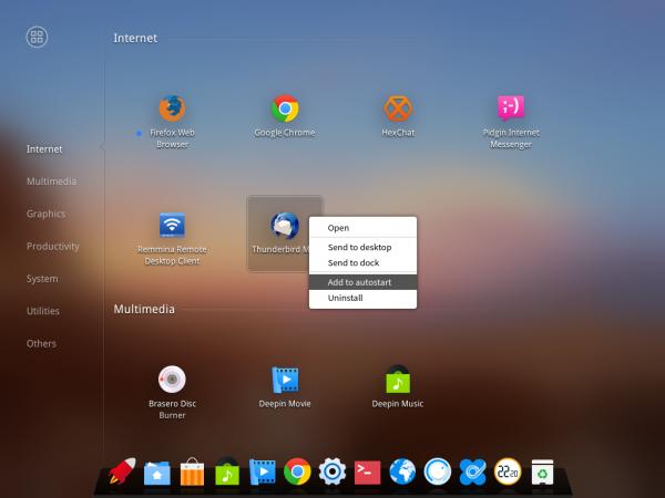 Deepin desktop app launcher