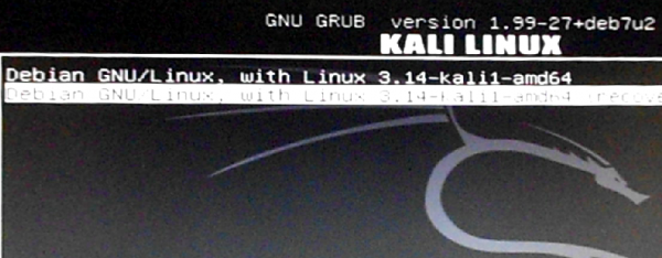 Kali Linux GRUB menu