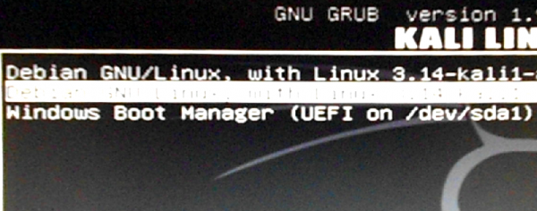 Kali Linux Windows boot manager