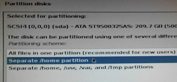 Kali Linux home partition