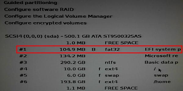 Kali Linux EFI partition