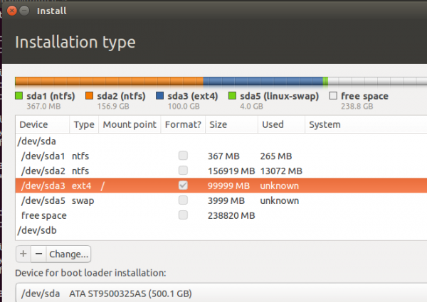 Ubuntu 14.10 partitions