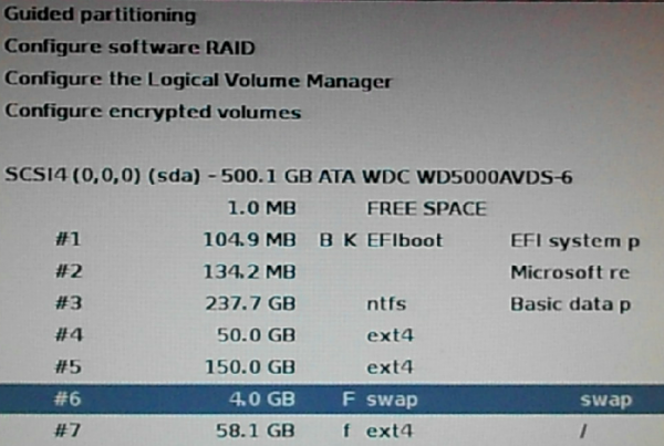 Kali Linux disk partitions