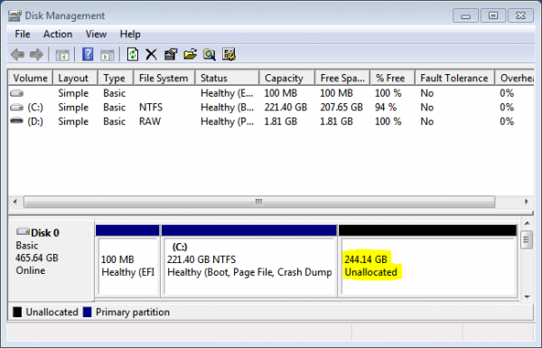 Windows 7 GPT partitions