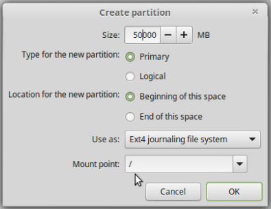 Creating home partition on Linux Mint 17.1.