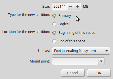Disk partition editor Linux Mint 17.1