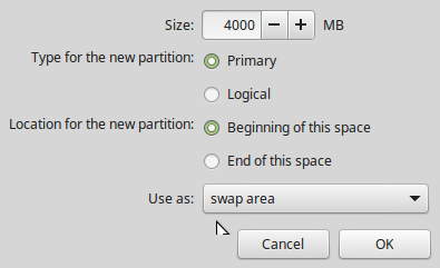 swap partition Linux Mint 17.1