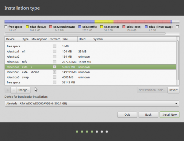 GPT partitions Linux Mint 17.1
