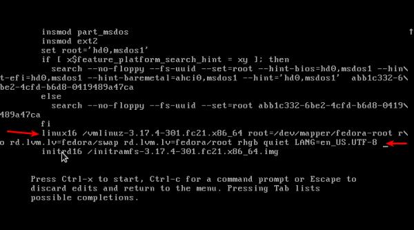 Fedora 21 edit GRUB
