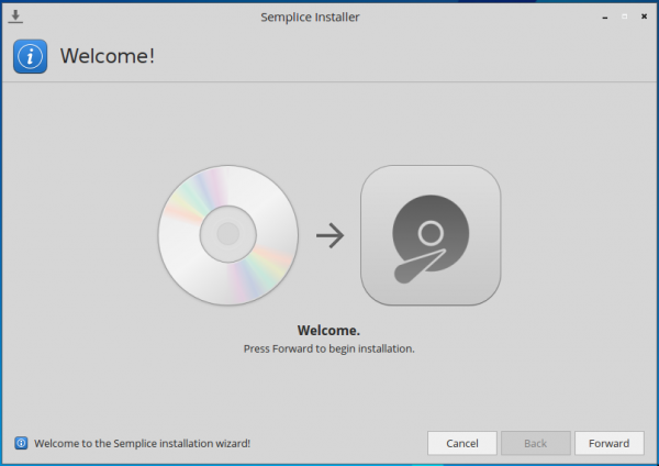 Semplice 7 graphical installer