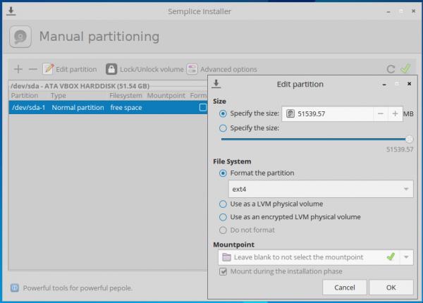 Semplice 7 installer partition editor