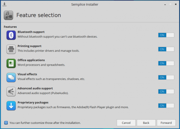 Semplice 7 installer feature selection