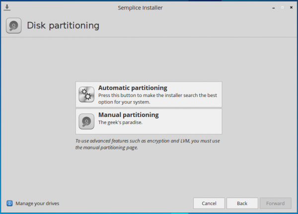 Semplice 7 automatic manual disk partition