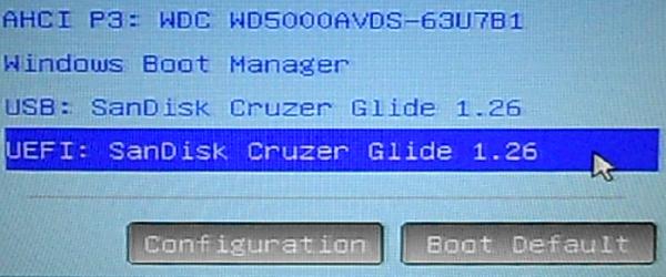 UEFI Computer boot menu