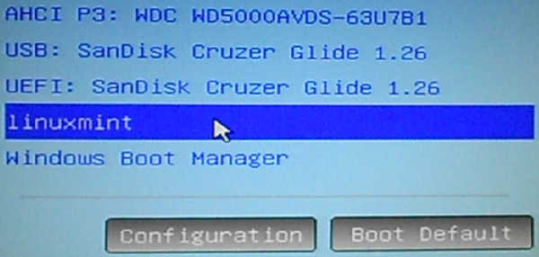 Figure 20: Entries on the computer's boot menu after installing Linux Mint Debian Edition 2.