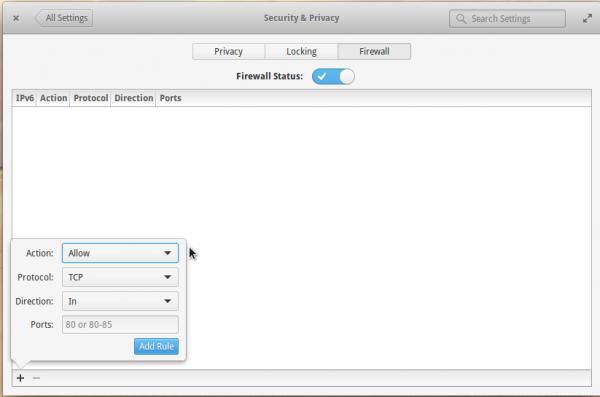 Elementary OS firewall module