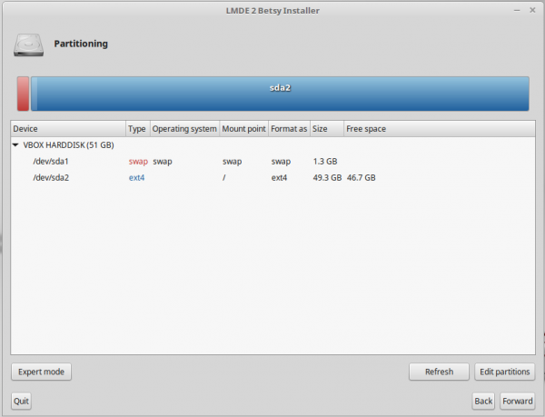 Linux Mint Debian LMDE disk partition