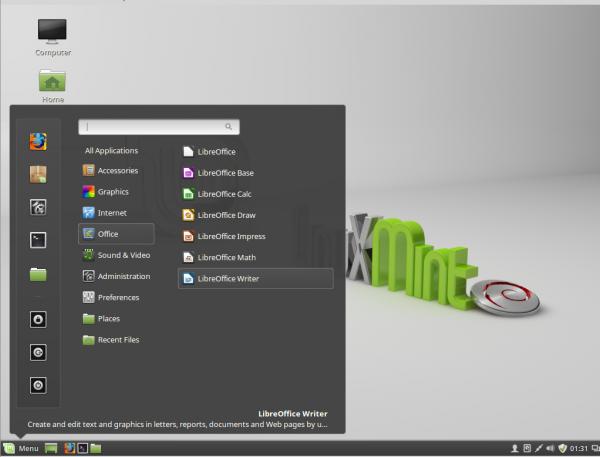 Linux Mint Debian LMDE Cinnamon menu