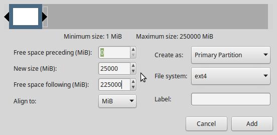 LMDE 2 partition editor