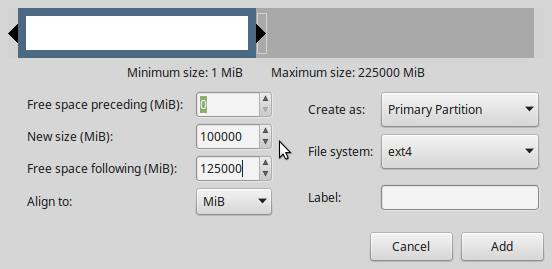 LMDE 2 create home partition