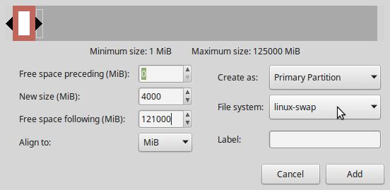 LMDE 2 create Swap partition